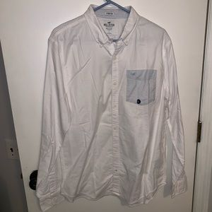Hollister Guys button-up shirt white Large